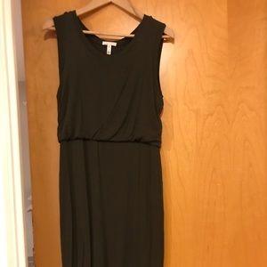 Olive green knit sleeveless dress
